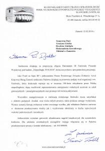 pismo objęcia patronatem przez Posła Sławomira Zawiślaka
